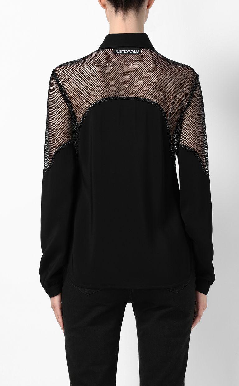 JUST CAVALLI Shirt with mesh detailing Long sleeve shirt Woman a