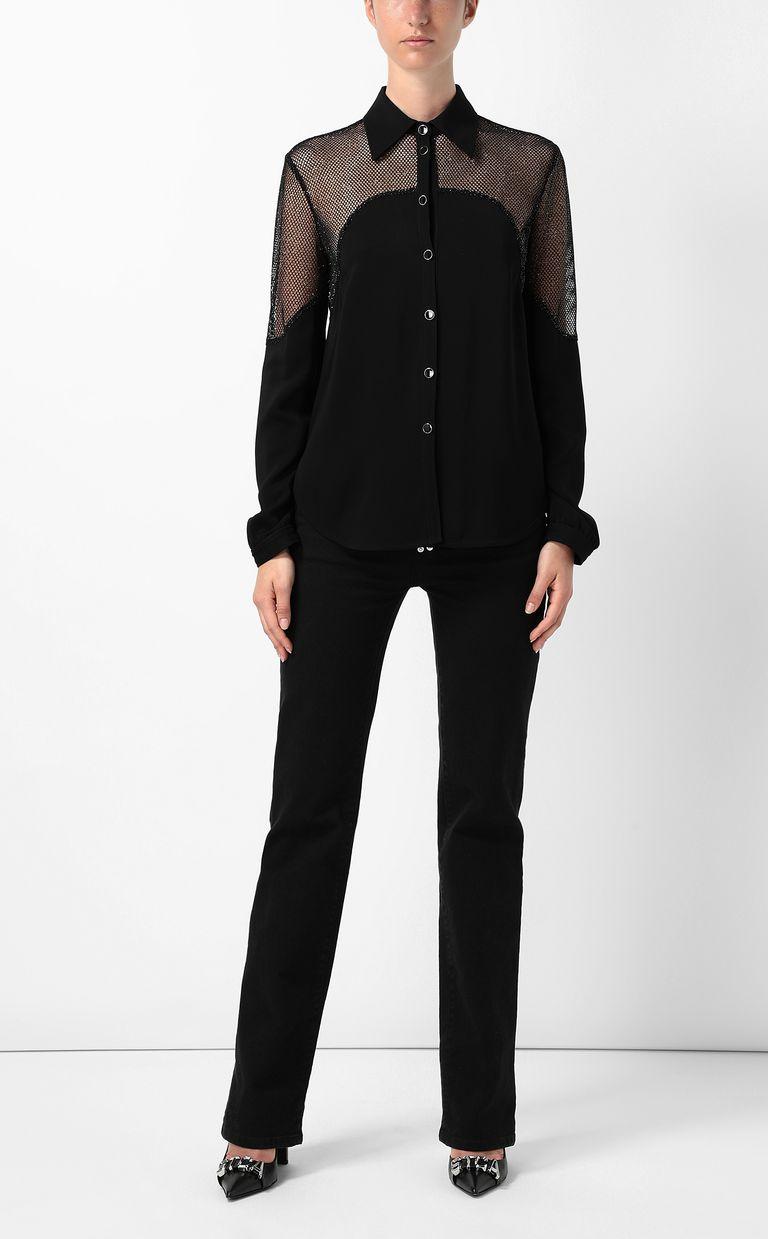 JUST CAVALLI Shirt with mesh detailing Long sleeve shirt Woman d