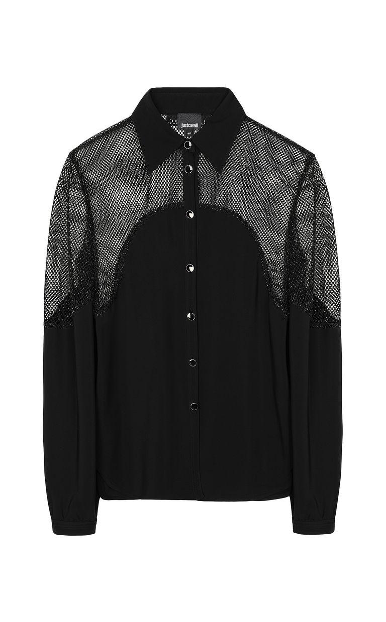 JUST CAVALLI Shirt with mesh detailing Long sleeve shirt Woman f