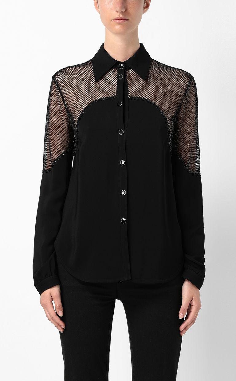 JUST CAVALLI Shirt with mesh detailing Long sleeve shirt Woman r