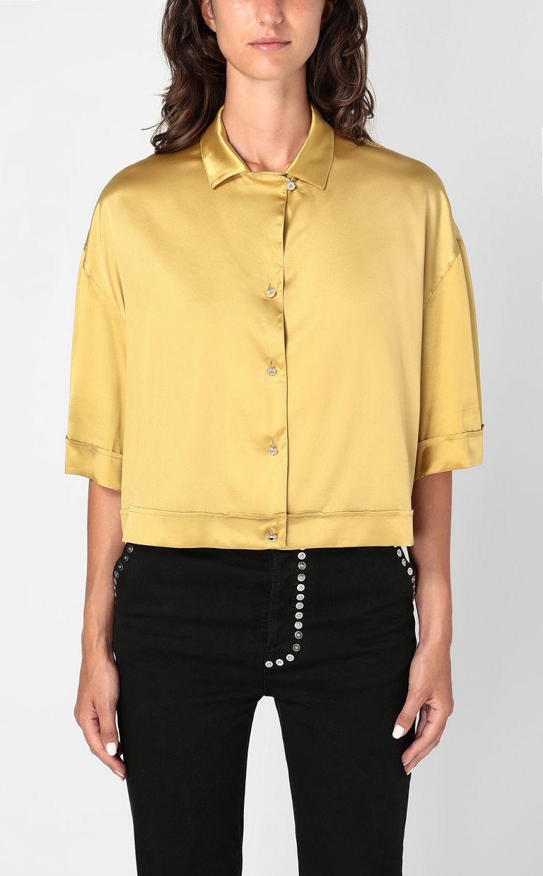JUST CAVALLI Satin shirt Short sleeve shirt Woman r