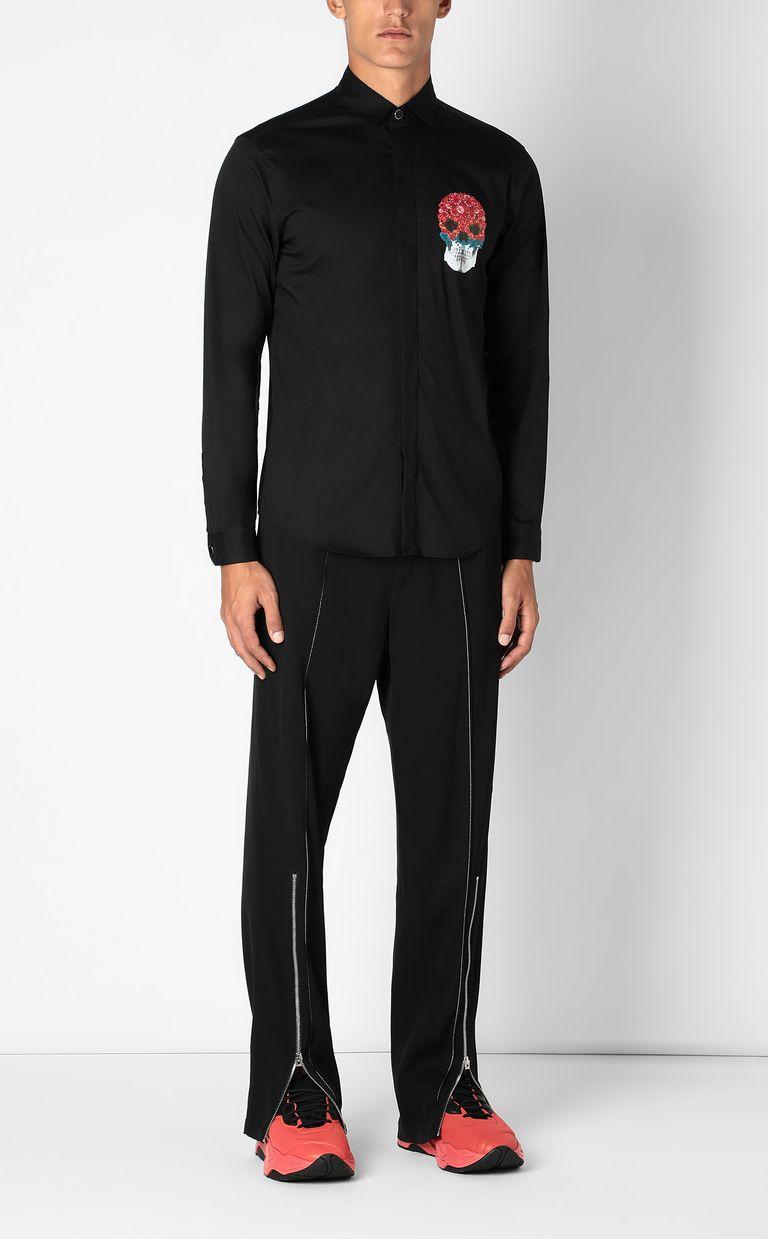 JUST CAVALLI Shirt with Flower-Skull motif Long sleeve shirt Man d