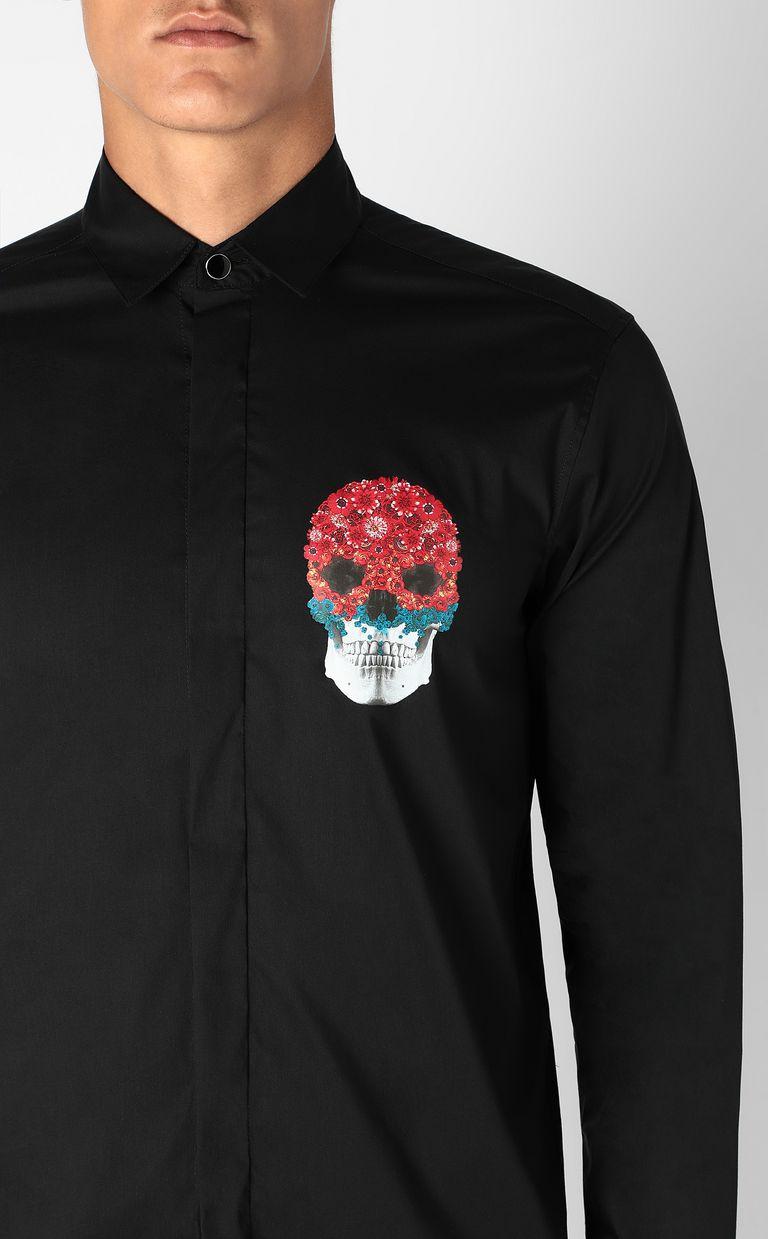 JUST CAVALLI Shirt with Flower-Skull motif Long sleeve shirt Man e