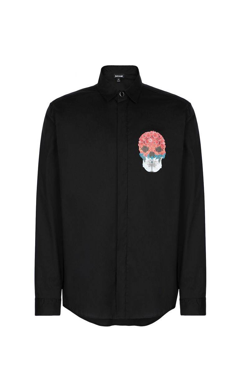JUST CAVALLI Shirt with Flower-Skull motif Long sleeve shirt Man f
