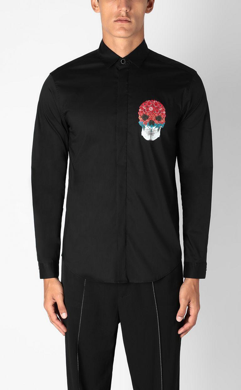 JUST CAVALLI Shirt with Flower-Skull motif Long sleeve shirt Man r