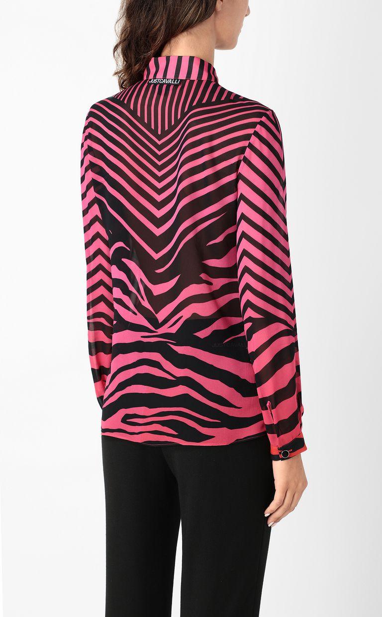 JUST CAVALLI Shirt with Optical-Zebra print Long sleeve shirt Woman a