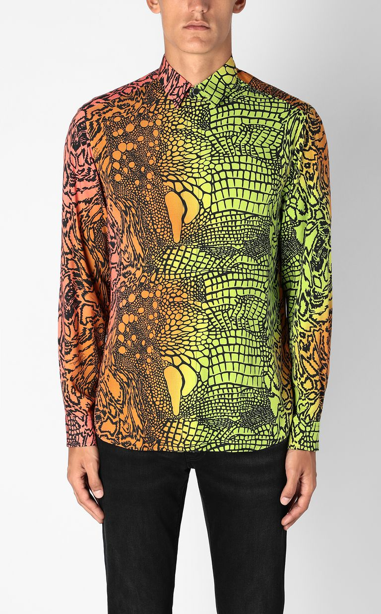 JUST CAVALLI Shirt with Reptilia print Long sleeve shirt Man r