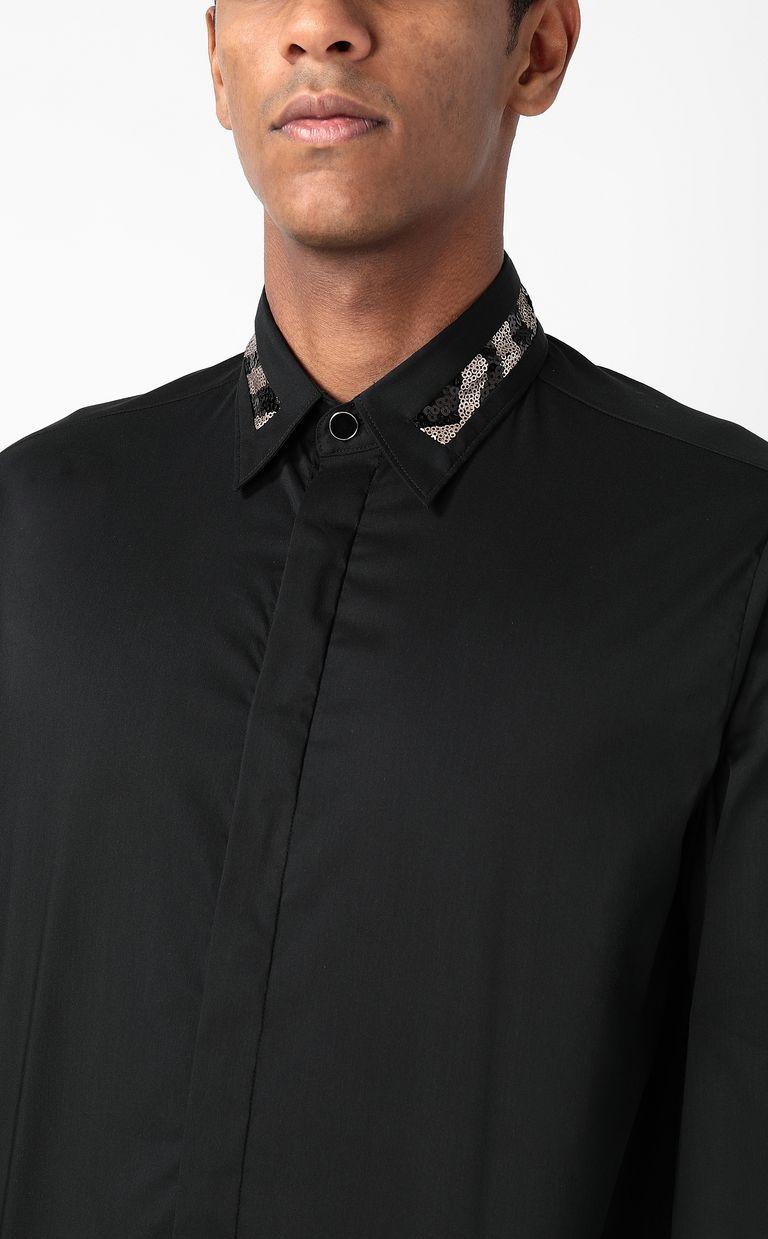 JUST CAVALLI Shirt with sequin detail Long sleeve shirt Man e
