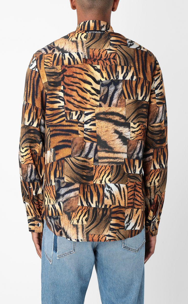 JUST CAVALLI Shirt with Tiger-Patchwork print Long sleeve shirt Man a