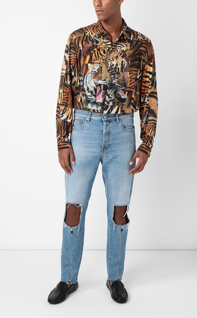 JUST CAVALLI Shirt with Tiger-Patchwork print Long sleeve shirt Man d