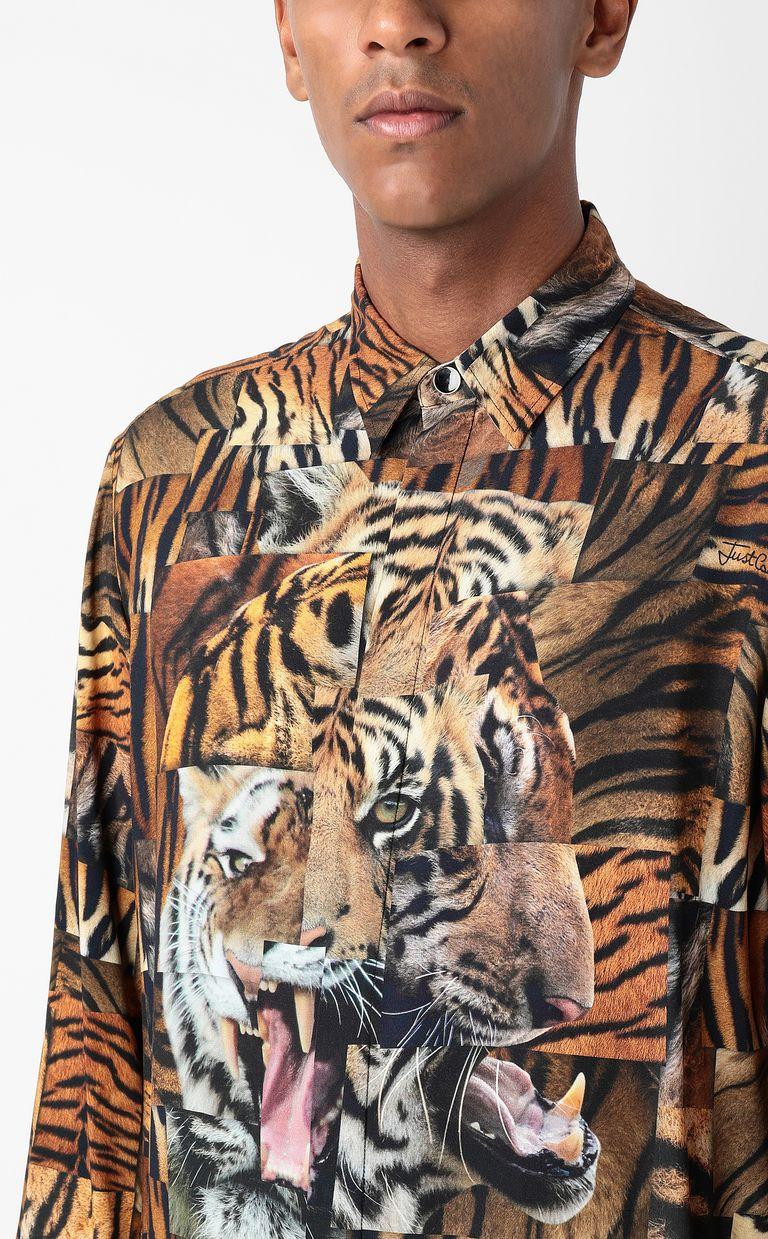 JUST CAVALLI Shirt with Tiger-Patchwork print Long sleeve shirt Man e