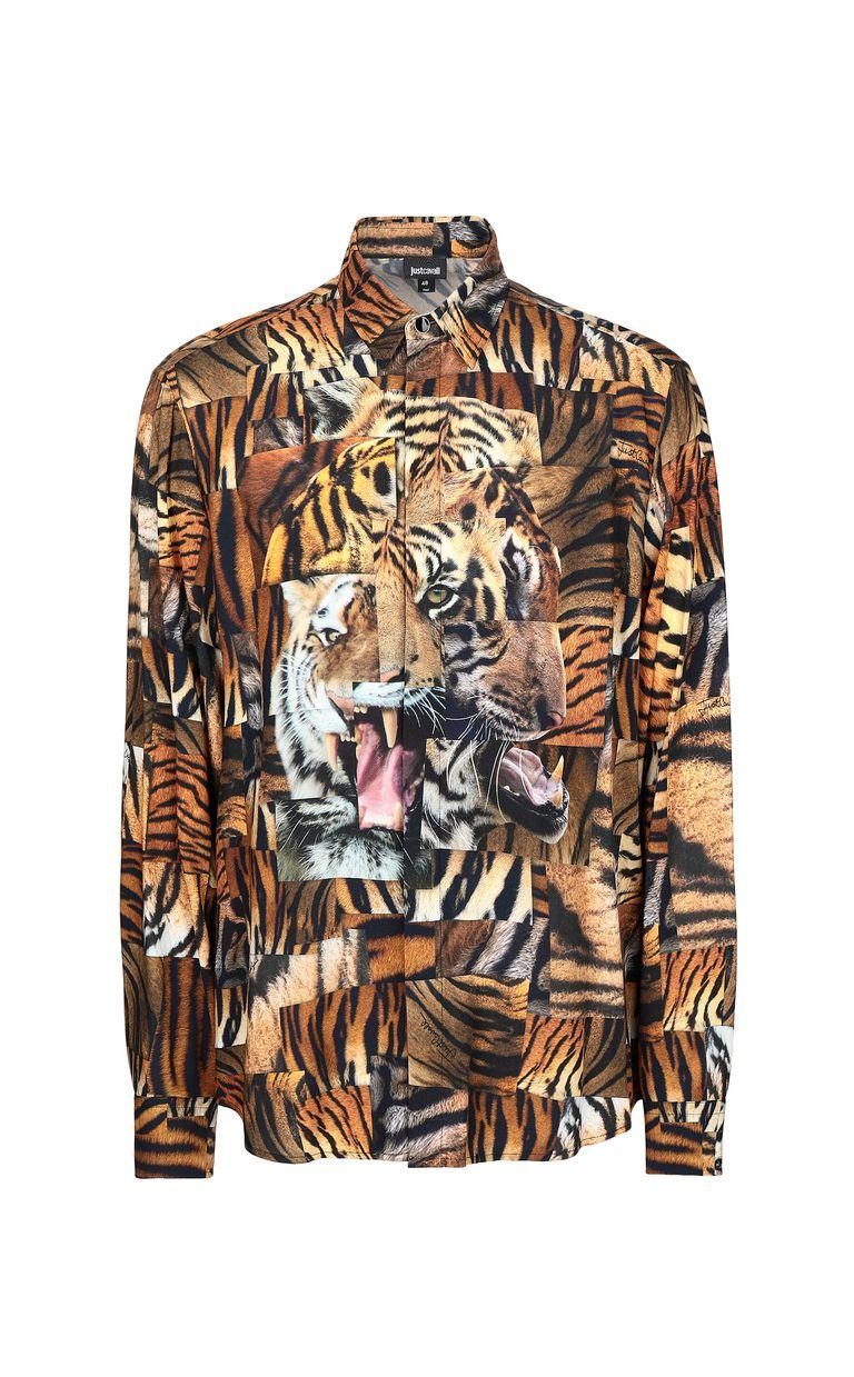 JUST CAVALLI Shirt with Tiger-Patchwork print Long sleeve shirt Man f