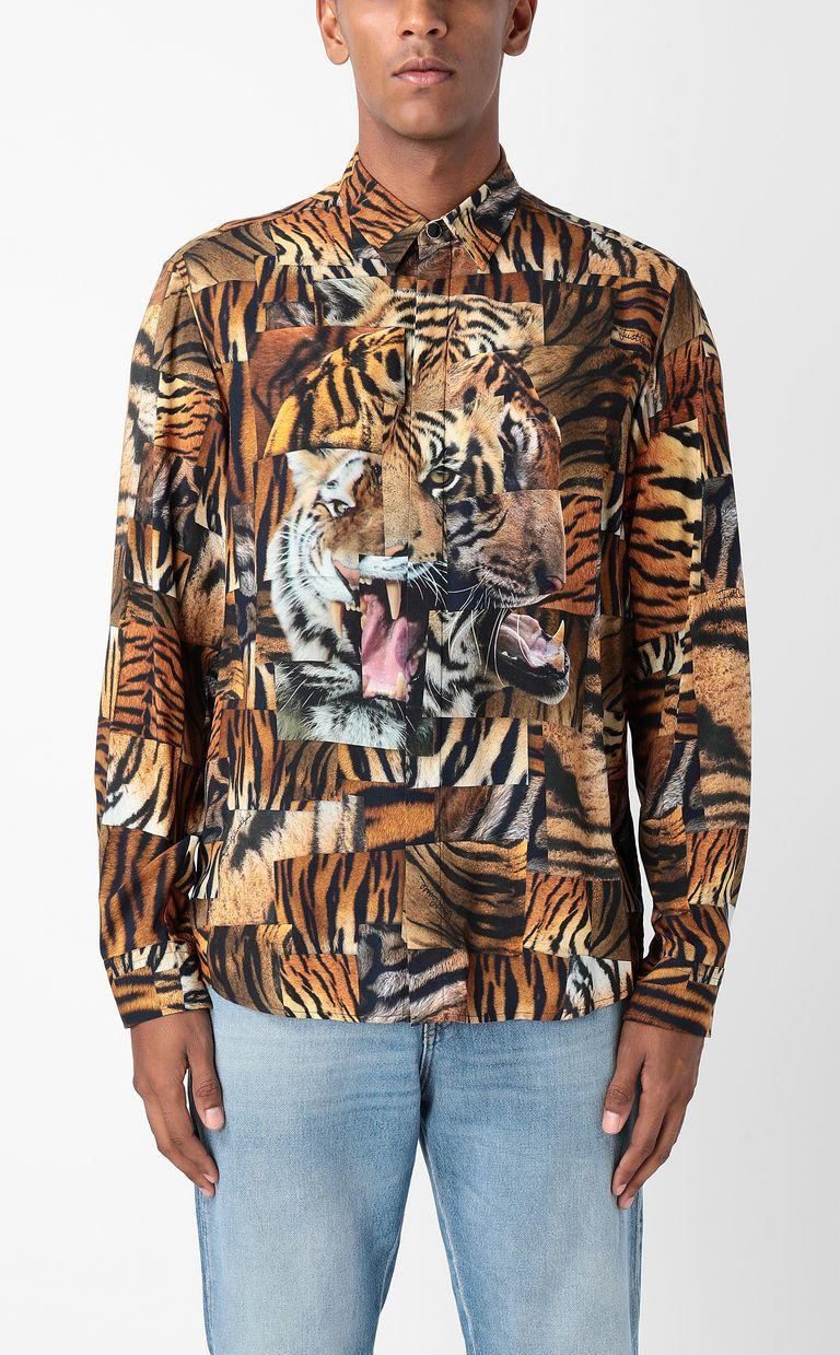 JUST CAVALLI Shirt with Tiger-Patchwork print Long sleeve shirt Man r