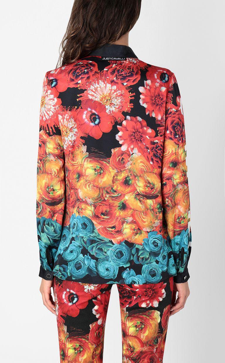 JUST CAVALLI Shirt with Flower-Glitch print Long sleeve shirt Woman a