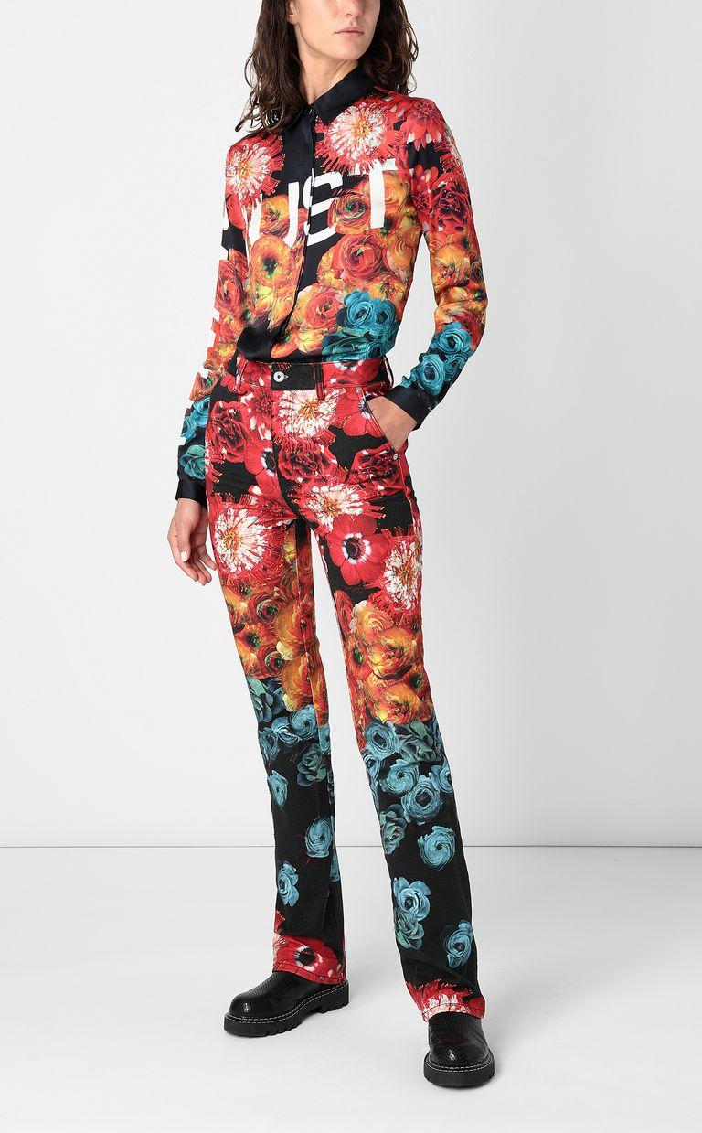 JUST CAVALLI Shirt with Flower-Glitch print Long sleeve shirt Woman d