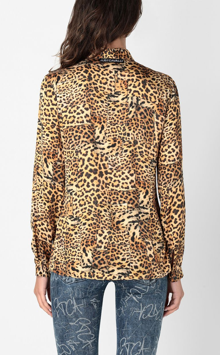 JUST CAVALLI Shirt with Patchwork-Leopard print Long sleeve shirt Woman a