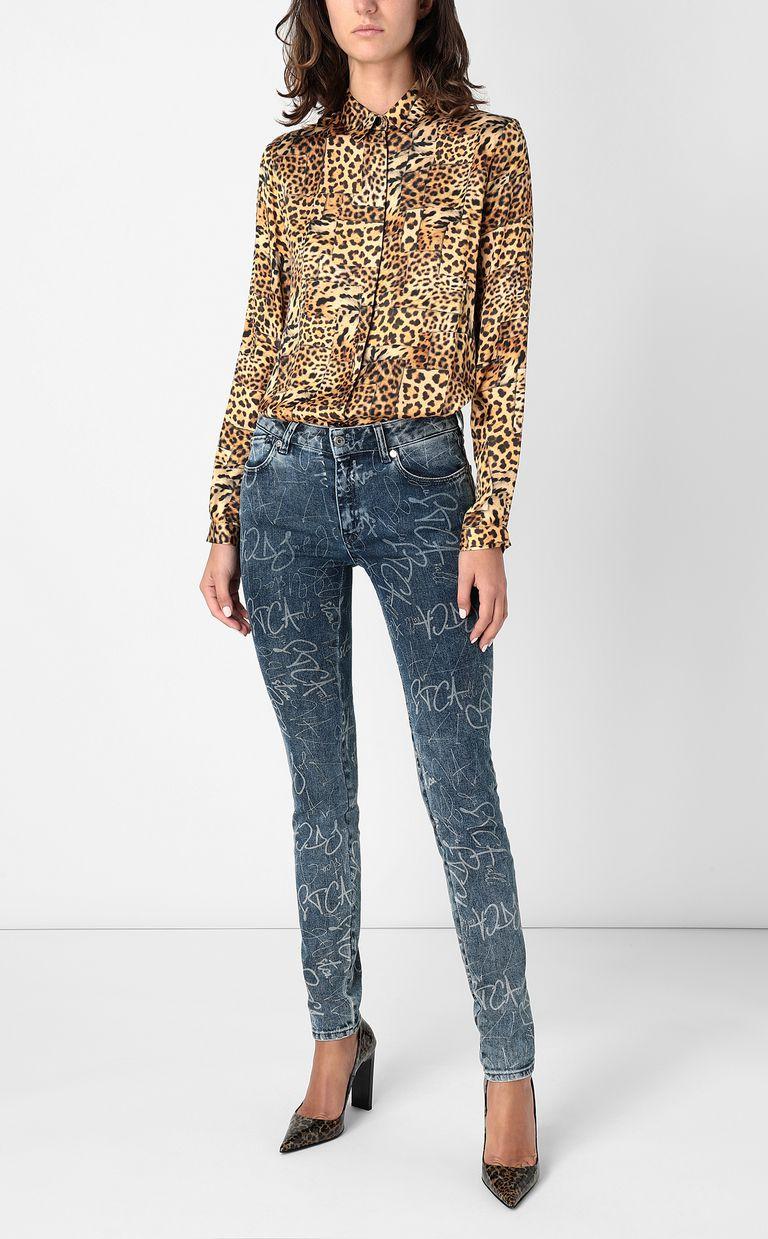JUST CAVALLI Shirt with Patchwork-Leopard print Long sleeve shirt Woman d