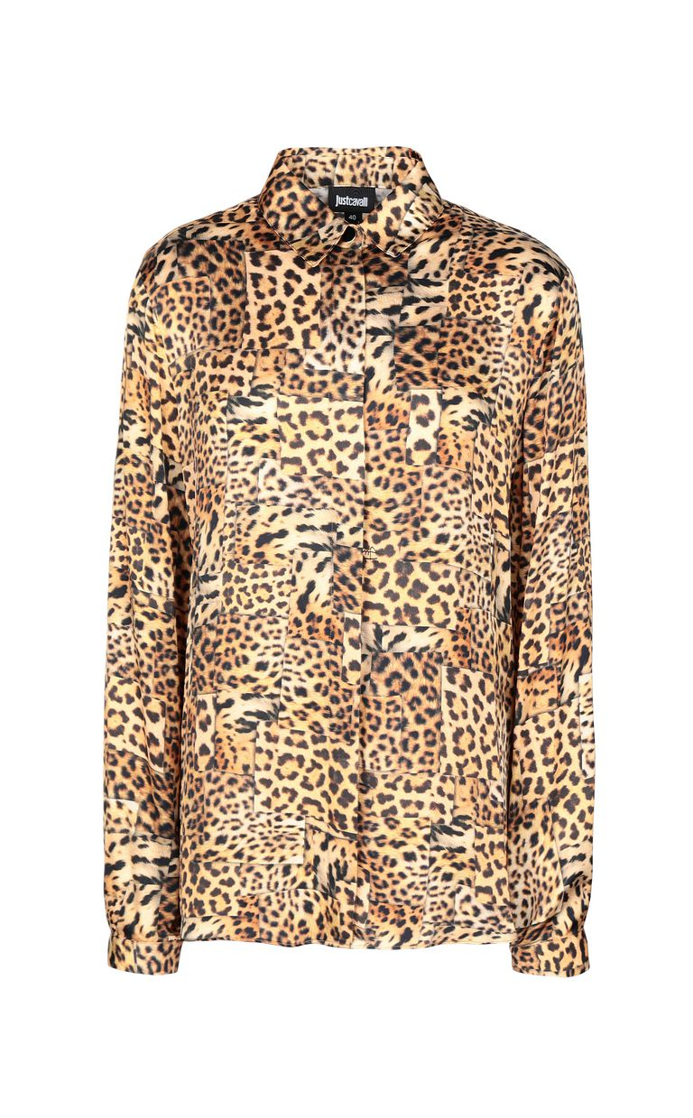 JUST CAVALLI Shirt with Patchwork-Leopard print Long sleeve shirt Woman f