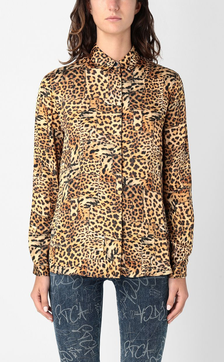 JUST CAVALLI Shirt with Patchwork-Leopard print Long sleeve shirt Woman r