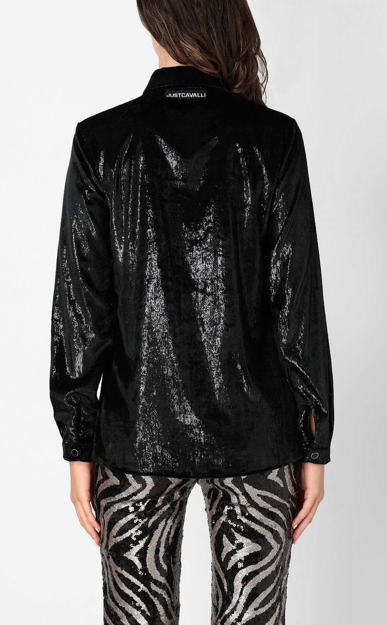JUST CAVALLI Wet-effect velvet shirt Long sleeve shirt Woman a