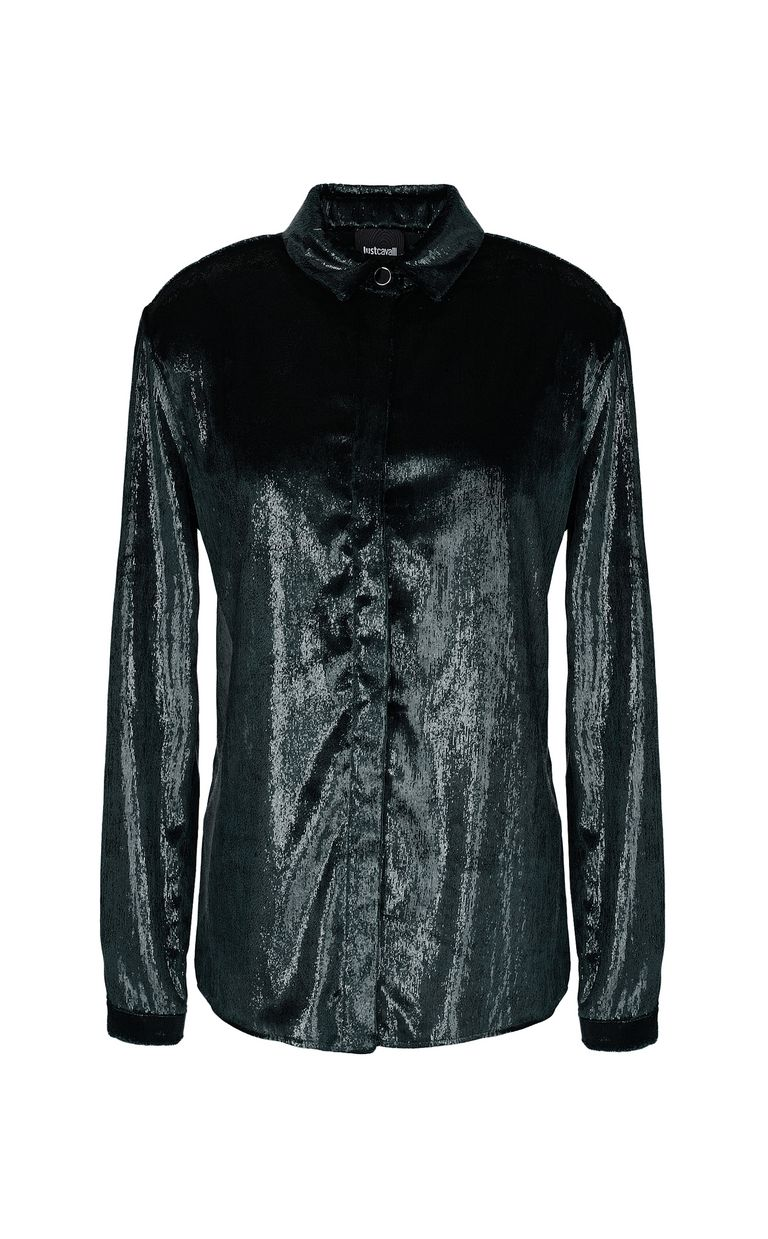 JUST CAVALLI Wet-effect velvet shirt Long sleeve shirt Woman f