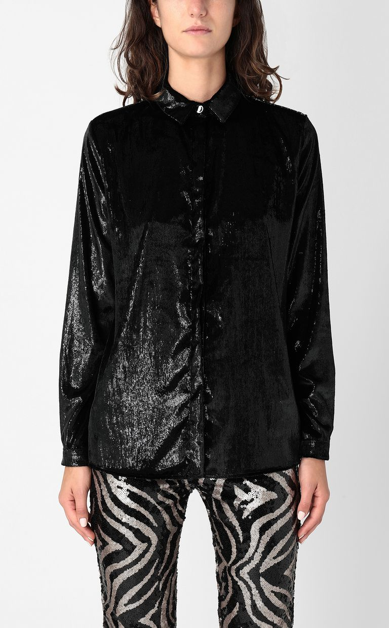 JUST CAVALLI Wet-effect velvet shirt Long sleeve shirt Woman r