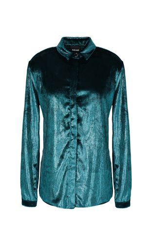 Wet-effect velvet shirt