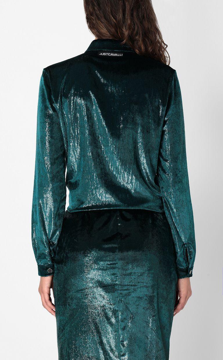 JUST CAVALLI Wet-effect velvet shirt Long sleeve shirt Woman a