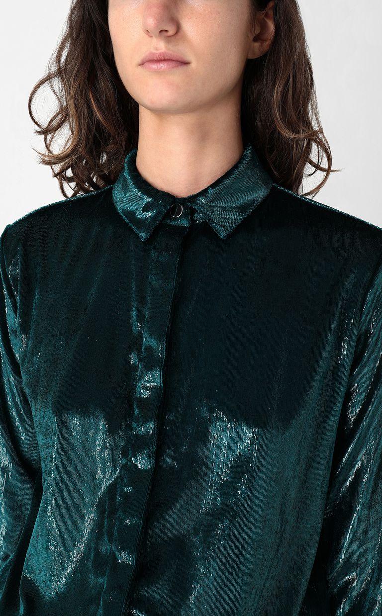 JUST CAVALLI Wet-effect velvet shirt Long sleeve shirt Woman e
