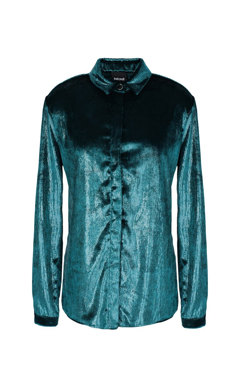 JUST CAVALLI Wet-effect velvet shirt Long sleeve shirt Woman f