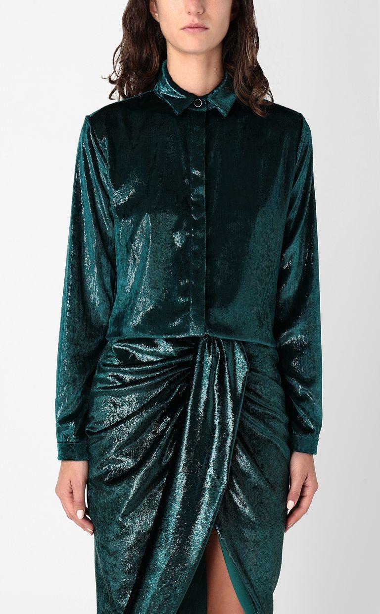 JUST CAVALLI Wet-effect velvet shirt Long sleeve shirt Woman r