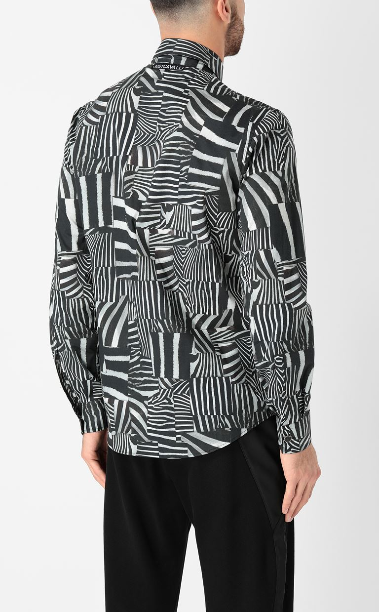 JUST CAVALLI Shirt with Patchwork-Zebra print Long sleeve shirt Man a