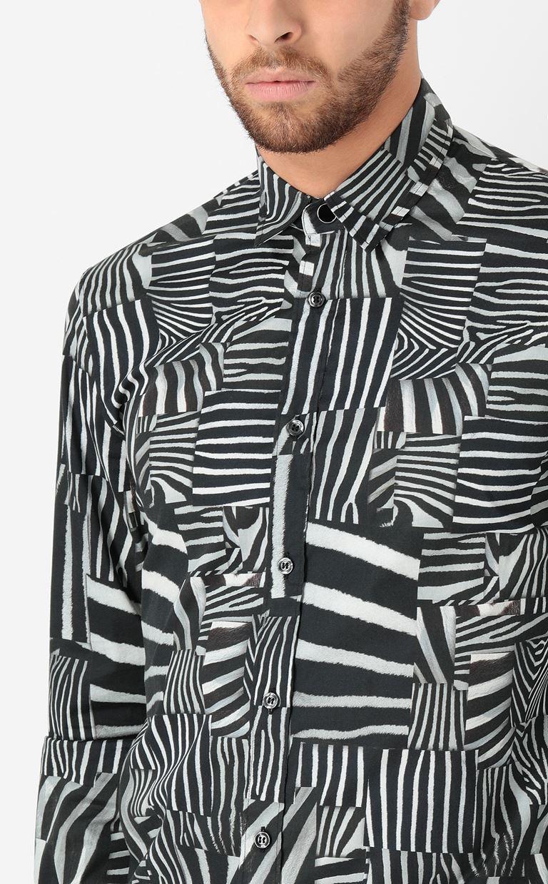 JUST CAVALLI Shirt with Patchwork-Zebra print Long sleeve shirt Man e
