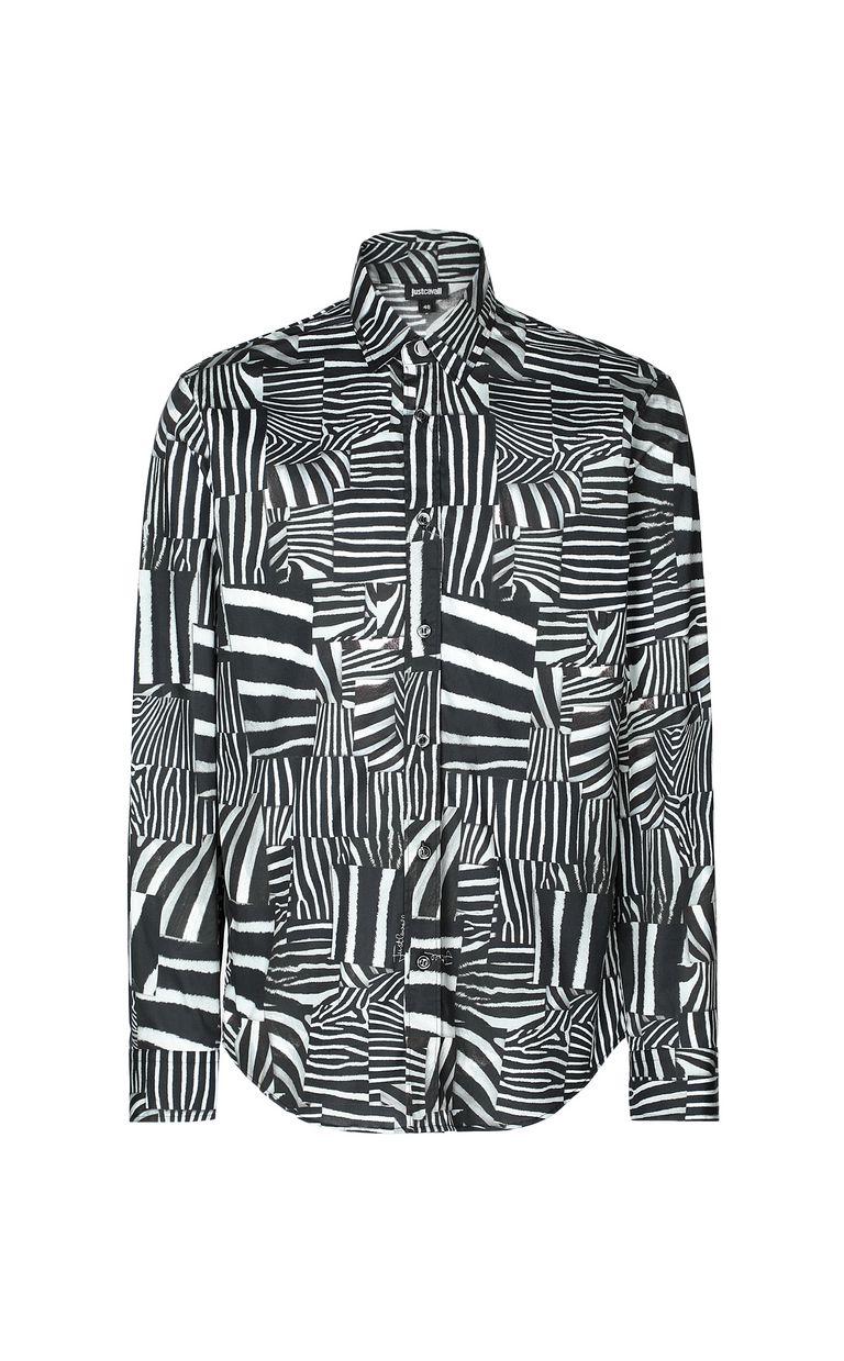 JUST CAVALLI Shirt with Patchwork-Zebra print Long sleeve shirt Man f