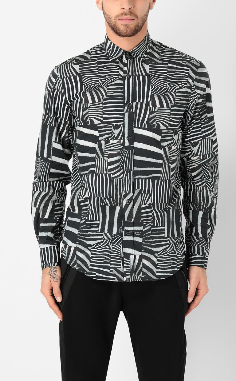 JUST CAVALLI Shirt with Patchwork-Zebra print Long sleeve shirt Man r