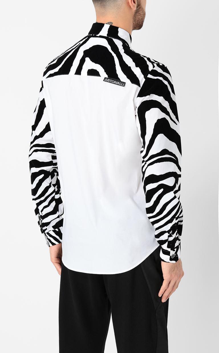 JUST CAVALLI Shirt with zebra-stripe pattern Long sleeve shirt Man a