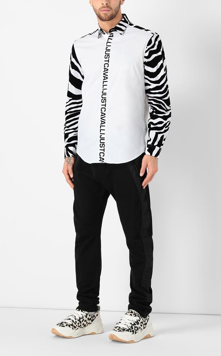JUST CAVALLI Shirt with zebra-stripe pattern Long sleeve shirt Man d