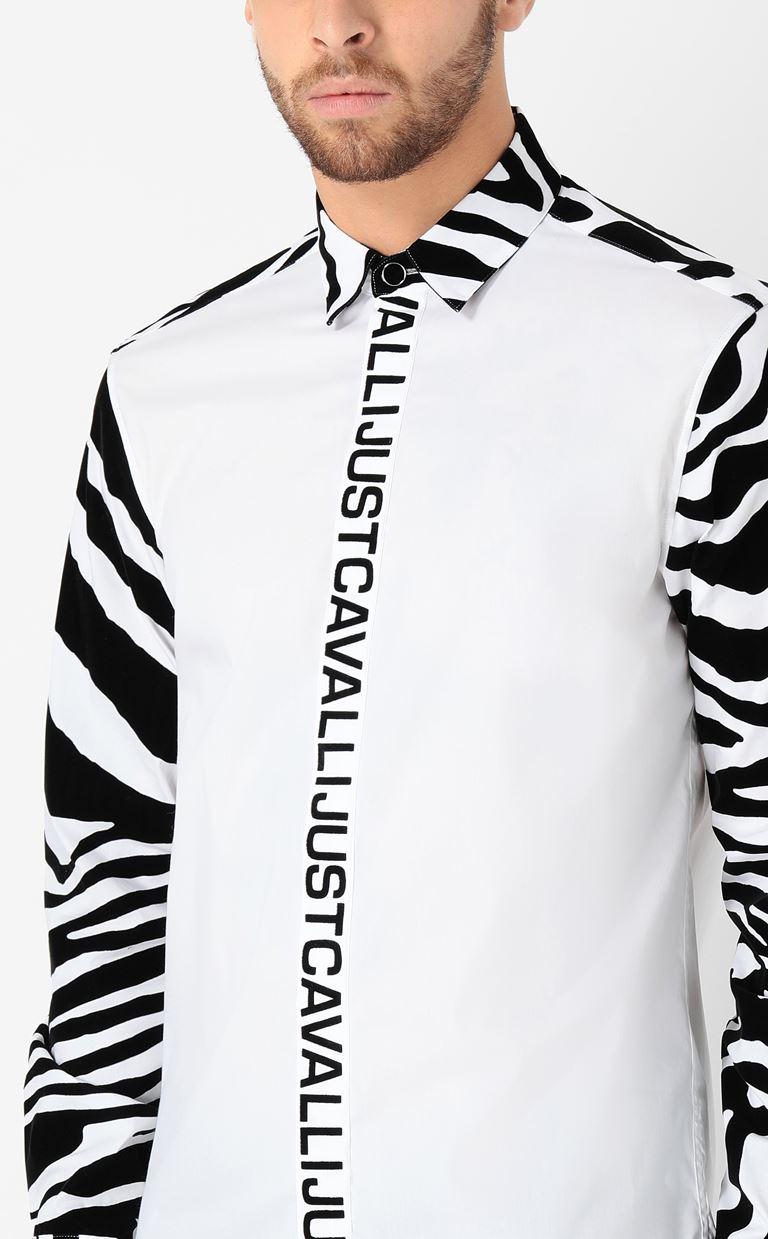 JUST CAVALLI Shirt with zebra-stripe pattern Long sleeve shirt Man e