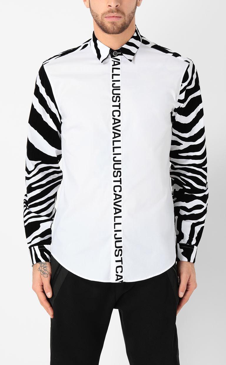 JUST CAVALLI Shirt with zebra-stripe pattern Long sleeve shirt Man r