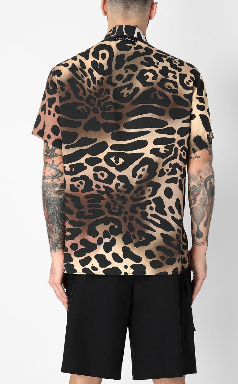 JUST CAVALLI Shirt with leopard-spot print Short sleeve shirt Man a