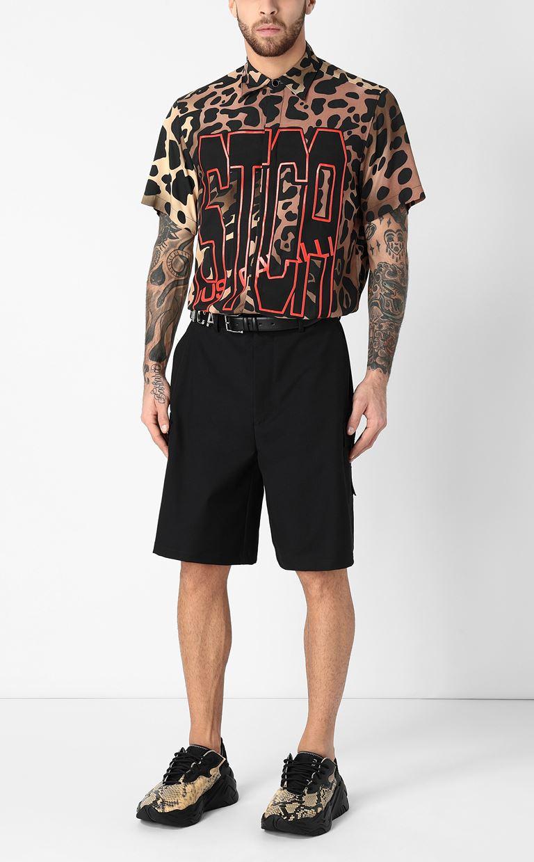 JUST CAVALLI Shirt with leopard-spot print Short sleeve shirt Man d