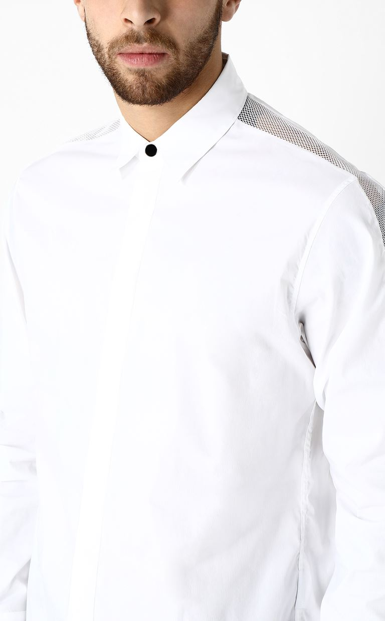 JUST CAVALLI Shirt with mesh detailing Long sleeve shirt Man a