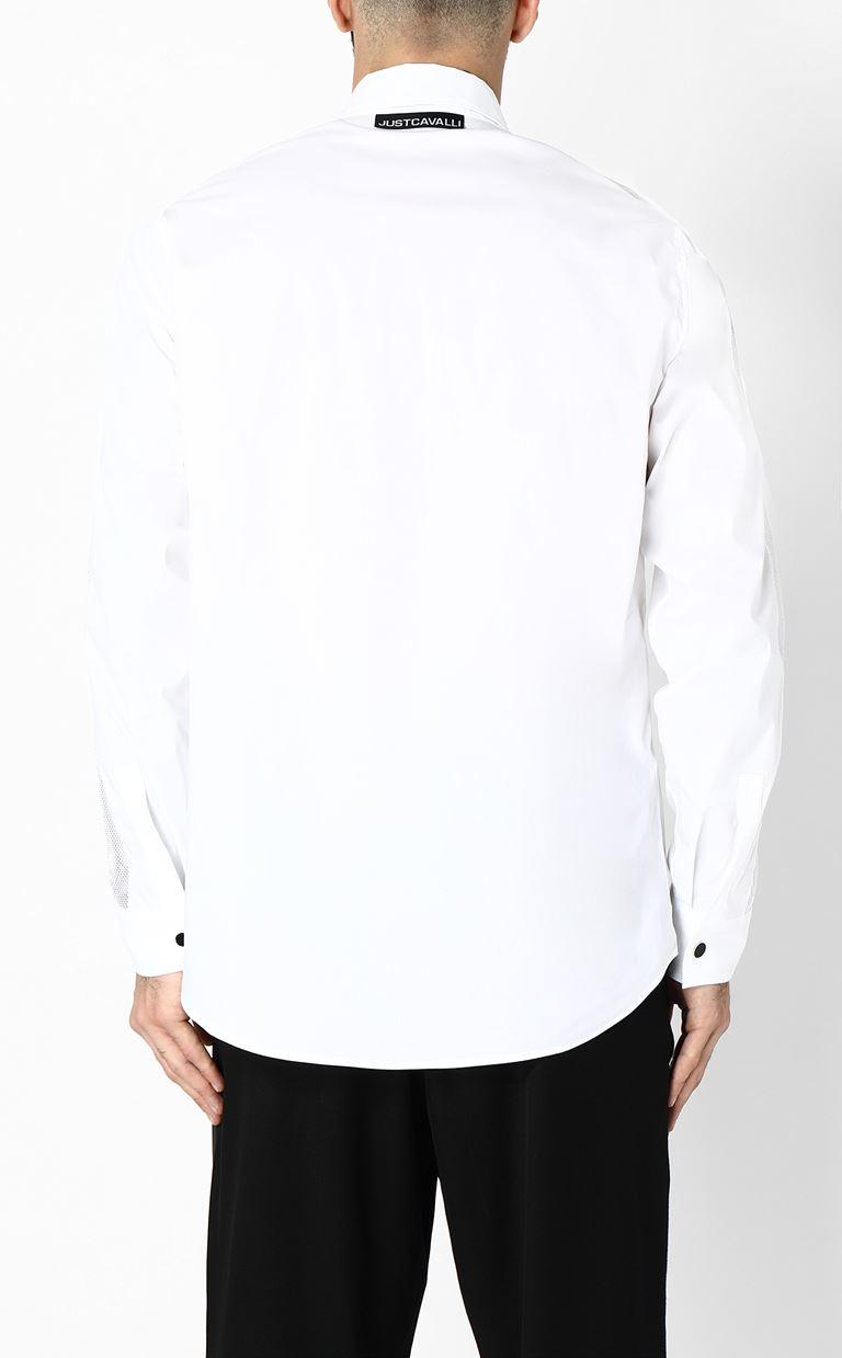 JUST CAVALLI Shirt with mesh detailing Long sleeve shirt Man e