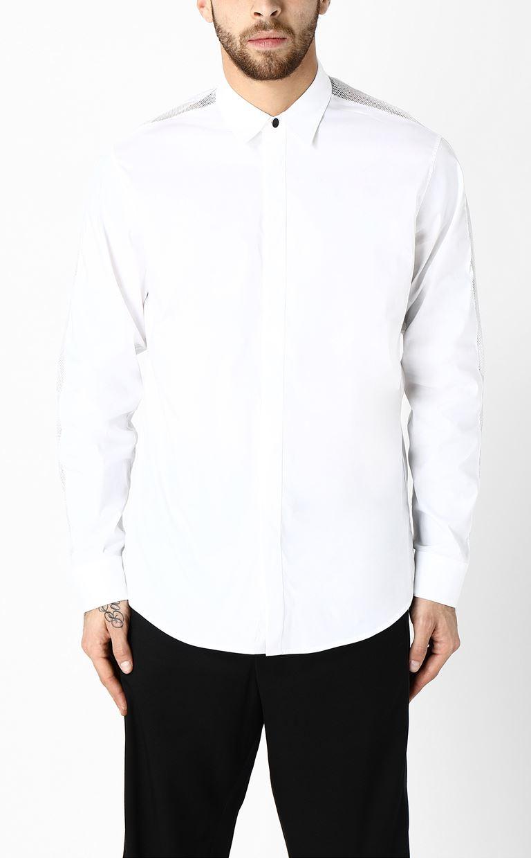 JUST CAVALLI Shirt with mesh detailing Long sleeve shirt Man r