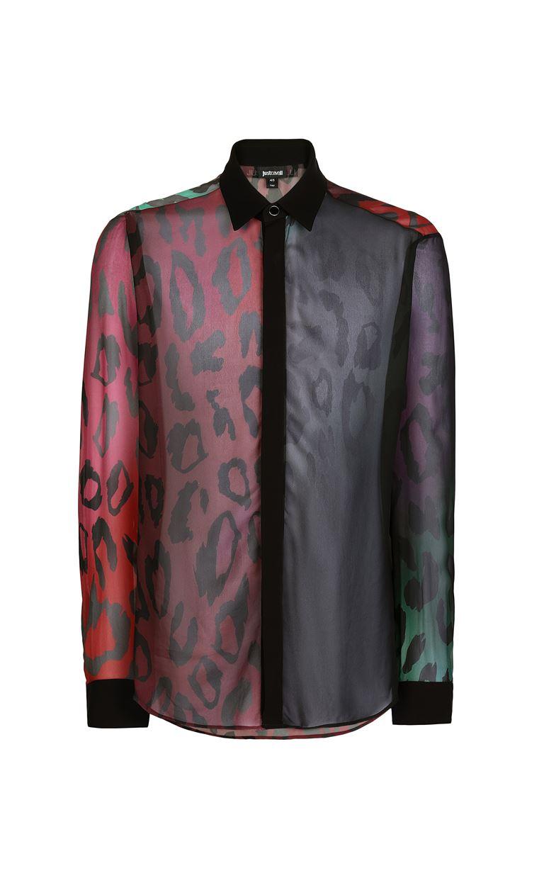 JUST CAVALLI Shirt with a leopard-spot pattern Long sleeve shirt Man f