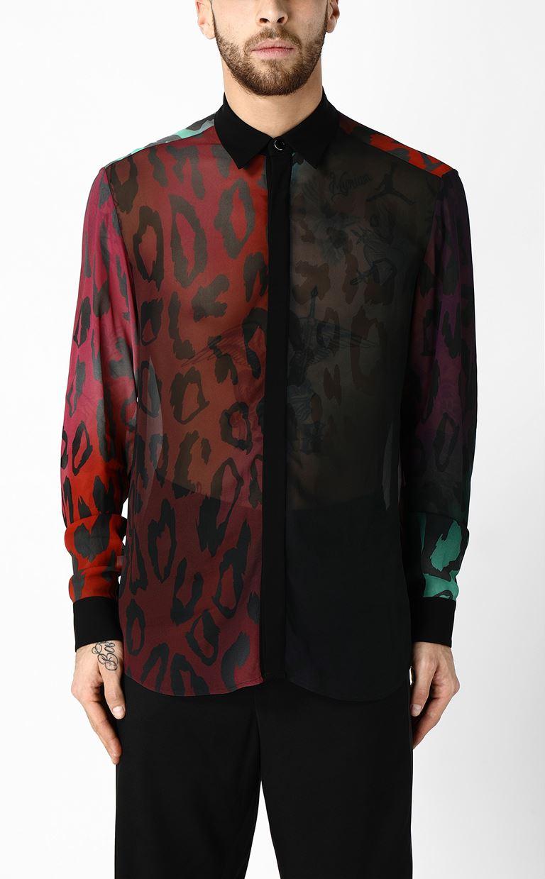 JUST CAVALLI Shirt with a leopard-spot pattern Long sleeve shirt Man r