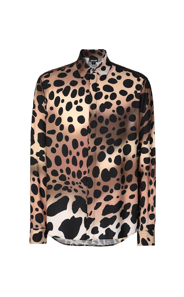 JUST CAVALLI Shirt with cheetah print Long sleeve shirt Man f