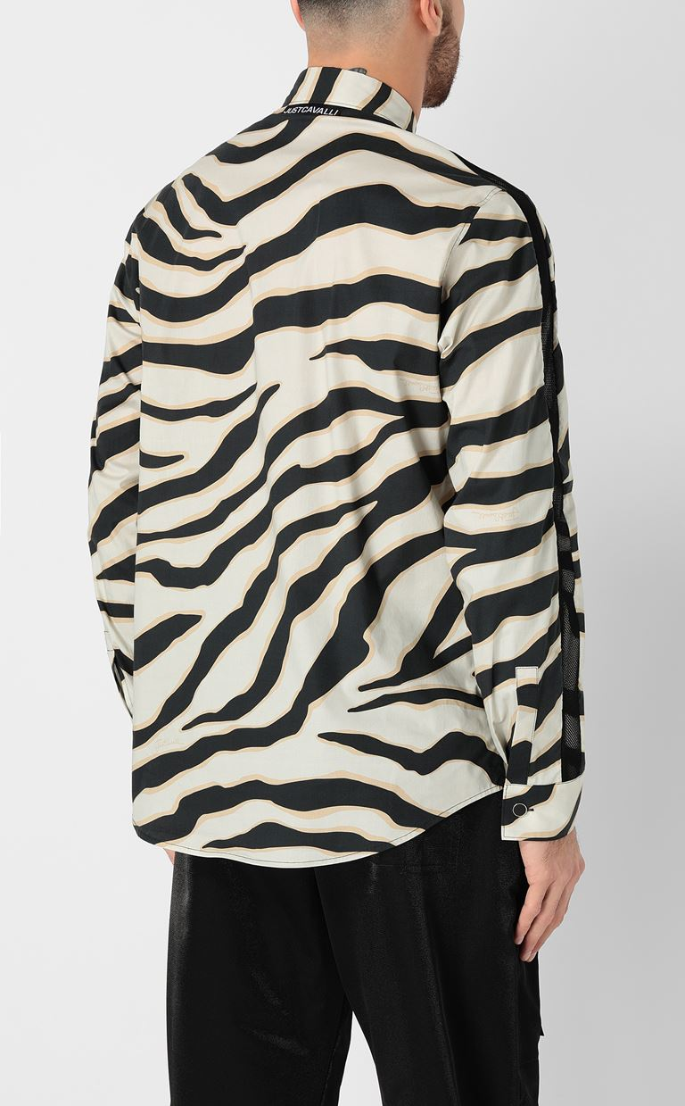 JUST CAVALLI Shirt with a zebra-stripe print Long sleeve shirt Man a