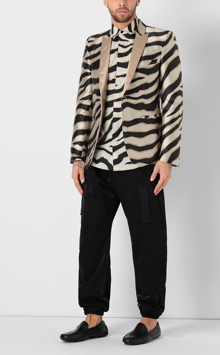 JUST CAVALLI Shirt with a zebra-stripe print Long sleeve shirt Man d