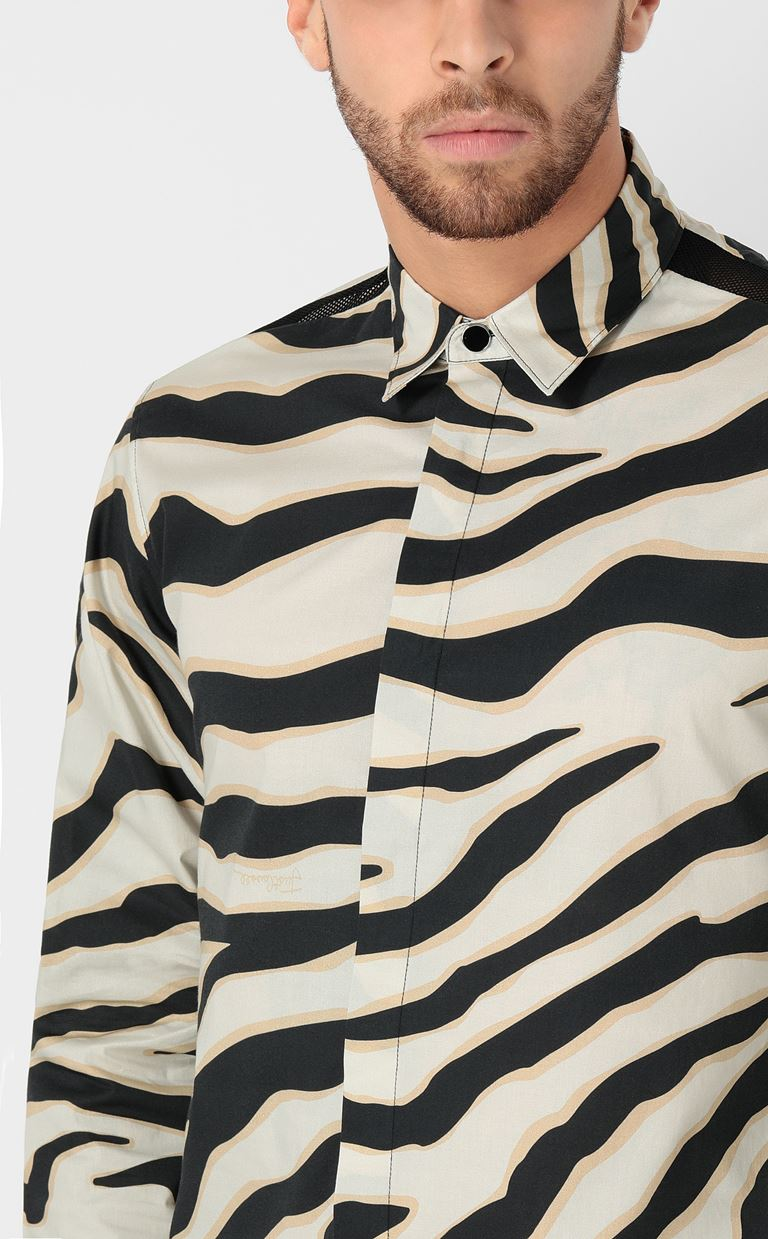 JUST CAVALLI Shirt with a zebra-stripe print Long sleeve shirt Man e